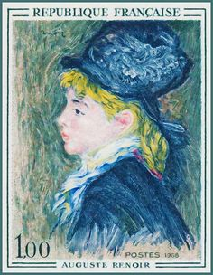 Stamps ©: Stamp of France [On painting by Pierre-Auguste Renoir]. Pierre Auguste Renoir, Renoir Paintings, Postage Stamp Art, Love Stamps, Vintage Stamps, Sale Poster, Art Model, Stamp Collecting, Mail Art