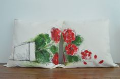 Geranium Bliss  Hand painted Cushion Cover fits by ShenasiConcept, $55.00
