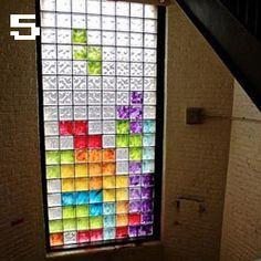 Great idea for brightening window tiles, Tetris on your window!