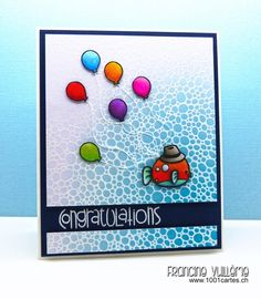 "I did the bkgd w the ""Bubbles"" stamp from Impression Obsession & heat embossed w white embossing powder. Then sponged the embossed paper with Distress inks & left some white spaces. Fish & Hat - Sweet Stamp Shop (""Fishy"" and ""Too Hip"" stamp sets). Balloons - Lawn Fawn set ""Year Four"". Colored images w Copics & fixed them to the bkgd w 3D foam pads. I used thread for the balloon strings. The white heat embossed Congratulations - Paper Smooches ""Sentiment Sampler""."