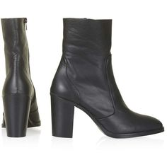 TOPSHOP MAGNIFICENT Sock Boots (1 275 SEK) ❤ liked on Polyvore featuring shoes, boots, short boots, real leather boots, lined ankle boots, bootie boots ve leather shoes