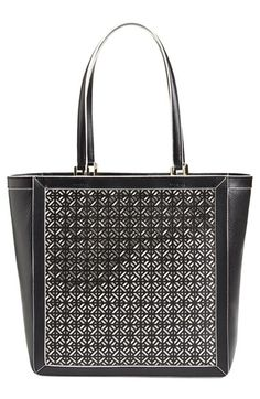 Tory Burch Fret T Perforated Leather Tote - Graphic perforated patterns and contrast-painted edges add stunning vintage sophistication to this spacious tote that will be perfect for carrying the essentials.