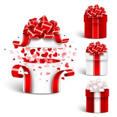 Valentine day gift boxs with red bow vector 02