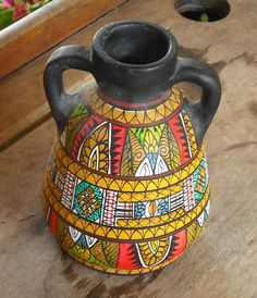 Vintage Clay Pottery Vase with Handles Black Hand Painted Tribal African Print Design Bright Colors Pot Urn. $9.00, via Etsy.