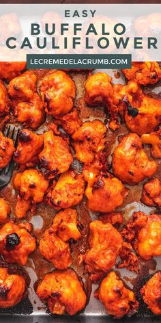 Easy Buffalo Cauliflower is baked not fried and delivers all of the flavor of fried buffalo chicken wings in a lighter but equally tasty appetizer or main dish Veggie Dishes, Veggie Recipes, Vegetarian Recipes, Cooking Recipes, Healthy Recipes, Vegetarian Appetizers, Easy Vegetarian Dishes, Cajun Recipes, Beef Recipes