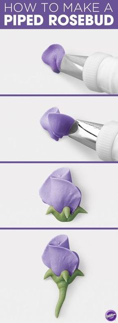 How to make a Piped Rosebud - Finish your petit fours or cupcakes with one pretty Rosebud. Made in buttercream, this flat flower can be piped directly on the cake in your favorite colors.