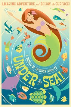 Gorgeous retro style Little Mermaid movie poster remake by Disney/Pixar animator Eric Tan...very cool!