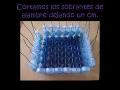 bandeja y cofres hecho con tapas plasticas recicladas