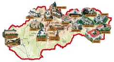 Castles of Slovakia map World Thinking Day, Central And Eastern Europe, City Maps, Bratislava, Woodland Creatures, Online Gratis, Mug Designs, Girl Scouts, Comic Art