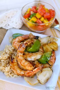 Tropical shrimp kabobs with spicy fruit salsa