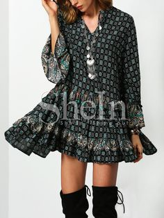 Shop Dark Green Tribal Print Ruffle Dress online. SheIn offers Dark Green Tribal Print Ruffle Dress & more to fit your fashionable needs.
