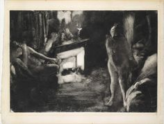 Edgar Degas l The Fireside l ca. l Monotype in black ink on white heavy laid paper l plate: 16 x 23 in. x cm) sheet: 19 x 25 in. x cm) l MET Museum Edgar Degas, Life Drawing, Painting & Drawing, Monet, Degas Drawings, Les Fables, Images Vintage, Web Design, Canvas Prints