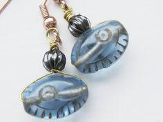 Earrings Vintage Czech Blue EYE glass beads Egyptian Revival  period