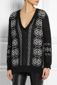 Black and off-white wool-blend Slips on wool, mohair, polyamide Dry clean Fall Sweaters, Autumn Winter Fashion, Trendy Fashion, Wool Blend, Saint Laurent, Albert Brooks, Knitting, Blouse, Ysl