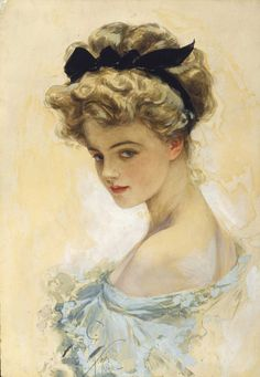 "'Her Eyes Were Made to Worship' 1908, gouache & watercolor on board, 17""x12"", signed and dated lower left; Saturday Evening Post, October 10, 1908 cover; American Beauties by Harrison Fisher, Bobbs-Merrill, 1909 cover and p87;  The Little Gift Book, by Harrison Fisher, Charles Scribner's Sons, 1913, #22"