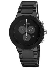 Citizen Watch, Men's Chronograph Eco-Drive Axiom Black Ion-Plated Stainless Steel Bracelet 43mm AT2245-57E - Men's Watches - Jewelry & Watch...