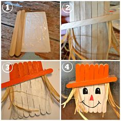 Popsicle Stick Scarecrow Magnet - Nice craft for the kids. Beginners level about 1 hour to create (with drying time). Need: Elmers glue, craft sticks, paint and raffia. TIP: For a sparkle - when finished brush on some glue on the hat and dip in your favorite glitter. Glue scarecrow to the front door wreath to show off your kids work! -Autumn