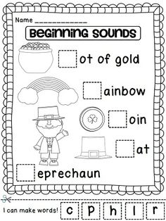 Beginning Sounds St. Patrick's Day cut and paste & a lot more ready to print/use math and literacy activities