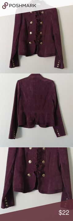 """Kate Rosy Military Jacket Beautiful Plum color Military Jacket w/ hook & eye front closure.  Front ruffles and gold decorative buttons.  Ruffled hem adds an elegant touch. 4 gold buttons at sleeves cuff.  Very well made. No flaws. Material has a soft suede feeling to it, great quality. 85% polyester, 13%nylon, 2% spandex.   Flat measurements 18"""" from pit to pit 17"""" waist 25 1/2"""" sleeve Lenght 23"""" total lenght kate rosy Jackets & Coats Blazers"""