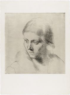 """loverofbeauty: """" Pablo Picasso: Portrait of Olga (1923) Etching """""""