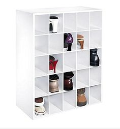 White Shoe Closet Storage Cabinet Fits 25 Pair Of Shoes Cubby Organizer  Cube Rack Boot Boots