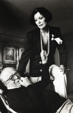 Billy Wilder and his wife Audrey at their home in Los Angeles | by Helmut Newton