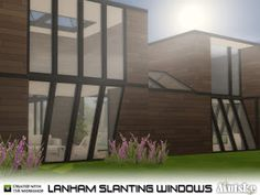 Sims 4 CC's - The Best: Lanham Slanting Windows by Mutske Sims New, My Sims, Sims 4 Windows, Sims House Design, Sims 4 Cc Furniture, Sims 4 Build, Door Sets, Sims 4 Houses, Sims 4 Game