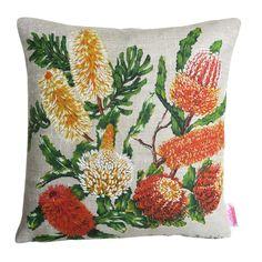 Australian Banksia Wildflowers Linen Cushion | Merry-Go-Round on Madeit