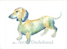 Original Watercolor Painting Dachshund 1  - E.Delacruz #IllustrationArt