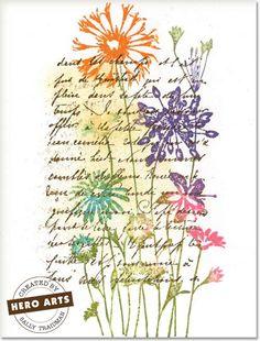 unknown date; Sally Traidman at 'Hero Arts' website using HA stamps: La Lettre & Wilddflower Garden