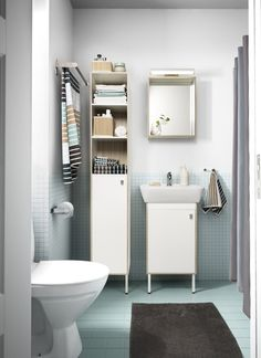 IKEA TYNGEN bathroom furniture pulls double duty to make your life a little more organized! The high cabinet combines open and closed storage so you can keep some things easy-to-reach and others tucked away.