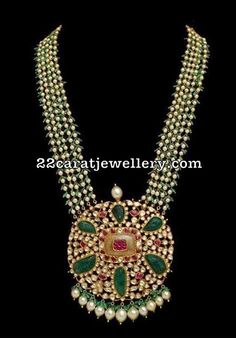 Fresh water pearls long chain with kundan emerald pendant. Fancy long chain with beads South Indian Bridal Jewellery, Indian Wedding Jewelry, Indian Jewelry, Bridal Jewelry, Bead Jewellery, Pearl Jewelry, Gold Jewelry, Beaded Jewelry, Gold Necklaces