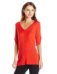 Calvin Klein Womens Short Sleeve VNeck Sweater Tango Red Medium ** Learn more by visiting the image link.