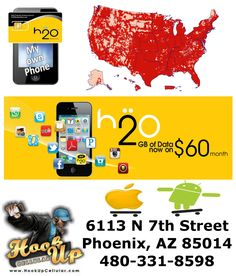 H2o works great with your AT or unlocked iPhone or Android device!  Get started saving money on your cell phone bill at HookUp Cellular!!  480-331-8598  Phoenix, AZ