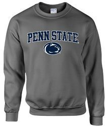 Penn State Crew Neck Sweatshirt Arching Over Lion Charcoal