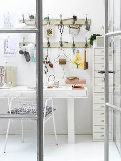 Discover more of the best Interior, Design, Home, Office, and Decor inspiration on Designspiration Home Office Inspiration, Workspace Inspiration, Interior Inspiration, Office Workspace, Office Decor, Office Ideas, Guest Room Office, Closet Office, Closet Space