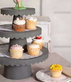 Cake Stands 183356: Rustic Country Style 3 Sizes Scalloped Cupcake Display Stand - Barn Roof -> BUY IT NOW ONLY: $149.95 on eBay!