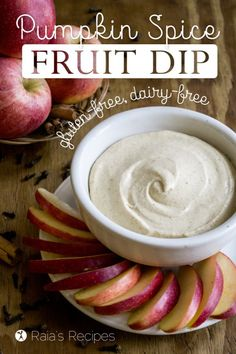 Whether you're looking for an appetizer, snack, or lunch, this dairy free and refined sugar free Pumpkin Spice Fruit Dip is a delicious treat! Dairy Free Appetizers, Dairy Free Treats, Dairy Free Recipes, Real Food Recipes, Dip Appetizers, Elegant Appetizers, Snack Recipes, Pumpkin Dip, Pumpkin Recipes