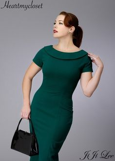 a hollywood inspired dress. Features beautiful roll boatneck collar and sultry V back with added bow detail. Short (or long) sleeves with pencil silhouette hug your curves at all the right places. A divine must-have! (option for swing skirt as well) Look Fashion, Retro Fashion, Vintage Fashion, Womens Fashion, Fashion 2018, Vintage Inspired Dresses, Vintage Dresses, Vintage Outfits, Custom Dresses