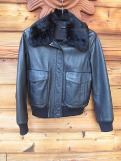 THEORY Jacket Coat Rabbit Fur Collar Bomber Leather M Motorcycle $1200 #Theory #Motorcycle