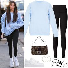 Find out where your favorite celebrities buy their clothes and how you can get their looks for less. Uni Outfits, Lazy Day Outfits, Teenage Outfits, Basic Outfits, Cute Casual Outfits, Estilo Madison Beer, Madison Beer Style, Madison Beer Outfits, Celebrity Style Casual