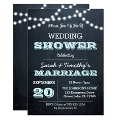 #invitations #wedding #bridalshower - #Chalkboard Lights Aqua Wedding Party Invitation