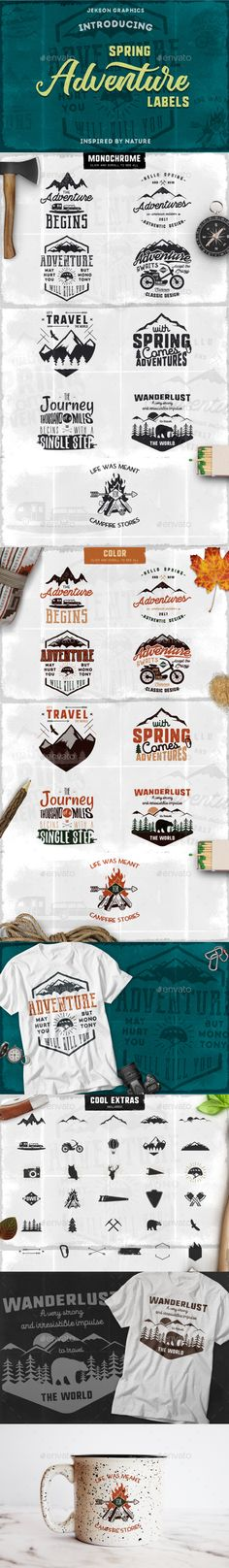 Spring Adventure Motivational Labels Templates PSD, Vector EPS, AI Illustrator