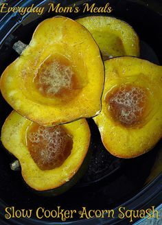 ~Slow Cooker Acorn Squash~ Sweet, savory, and oh so easy it's perfect for a weeknight supper or holiday meal!