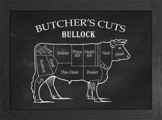 Butcher's Cuts - beef, bullock, meat cuts chalkboard effect, kitchen decor wall art by SilverAndGreyPrints www.silver-and-grey.com