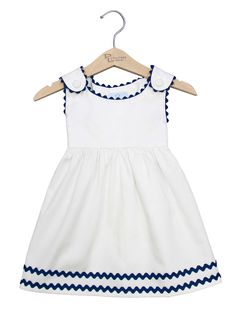 Ric Rac Pique Dress von Princess Linens in Gilt – Baby Kleidung Frocks For Girls, Kids Frocks, Dresses Kids Girl, Little Girl Outfits, Little Dresses, Kids Outfits, Baby Dresses, Anchor Dress, Baby Dress Design