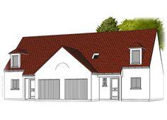 Modèle PC-55  Pavillon investisseur avec garage comprenant cuisine ouverte sur le séjour, hall, salle de bains, WC au rez-de-chaussée. 3 chambres, palier et salle de bains à l'étage.  Surface Habitable : 95,00m² pour un logement