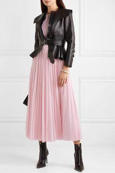 Alexander McQueen - Ribbed-knit and chiffon midi dress Pink Pleated Skirt, Silk Mini Dress, Chiffon Skirt, Crepe Dress, Peplum Gown, Poplin Dress, Knit Dress, Pink Fashion, Luxury Fashion