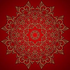 Red round gold lace ornament vector art illustration