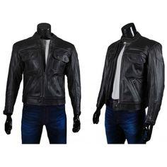 Deniro, leather jacket men, leather jacket mens uk, leather jacket with pockets - Wrangler style, Police style
